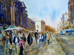 """COURTESY OF BRYAN MEMORIAL GALLERY - """"Steps of the Met"""" by Mary Ann Heinzen"""
