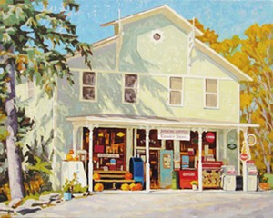 """COURTESY OF EMILE A. GRUPPE GALLERY - """"Jericho General Store,"""" oil painting by Phil Laughlin"""