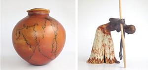 "COURTESY OF GREEN MOUNTAIN FINE ART GALLERY - Left: ""Horse Hair Raku Pot,"" by Luke Iannuzzi Right: ""The Journey"" by Nadya Beck"