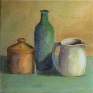 "COURTESY OF MARIAN WILMOTT - ""Still Life With Green Bottle"" by Marian Wilmott"