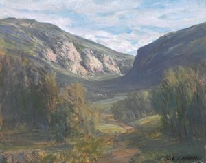 """COURTESY OF BRYAN MEMORIAL GALLERY - """"Light Through Smugglers' Notch"""" by Jack Lieberman"""