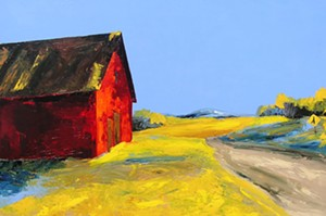 "COURTESY OF EDGEWATER GALLERY - ""Roadside Barn,"" painting by Janis Sanders"