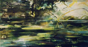 """COURTESY OF WHITE RIVER GALLERY - """"Waiting for Dragonflies,"""" painting by Bunny Harvey"""