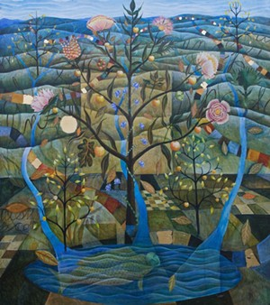 """COURTESY OF JULIA ZANES - """"A Fish in the Ocean of Story,"""" painting by Julia Zanes"""