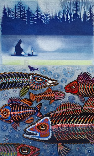 """COURTESY OF JACKSON GALLERY - """"Ice FIshing,"""" painting by Ashley Wolff"""