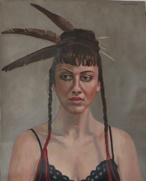"COURTESY OF VERMONT SUPREME COURT GALLERY - ""Hannah With Feathers,"" painting by Lark Upson"