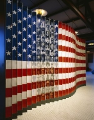 COURTESY OF MIDDLEBURY COLLEGE MUSEUM OF ART - American Flag of Faces Exhibit, Ellis Island