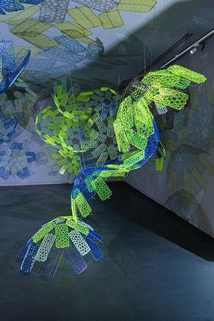 "COURTESY OF BRATTLEBORO MUSEUM & ART CENTER - Installation view of ""Luminous Muqarna"" by Soo Sunny Park"
