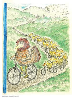 "COURTESY OF BRATTLEBORO MUSEUM & ART CENTER - ""Chickens on Bikes"" by Edward Koren"