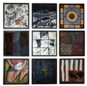 COURTESY OF FROG HOLLOW VERMONT CRAFT GALLERY - 'Nine by Nine' tiles by Heidi Broner, Sally Duval, Wendy James,  Irene Lederer LaCroix, Carol MacDonald, Dianne Shullenberger, Ellen Spring, Daryl Storrs and Ulrike Tessmer
