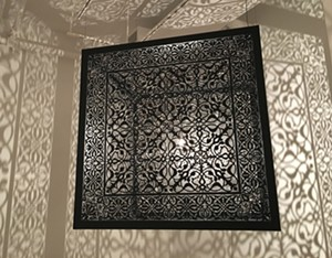 """COURTESY OF BRATTLEBORO MUSEUM & ART CENTER - Installation view of """"Shimmering Mirages"""" by Anila Quayyum Agha"""