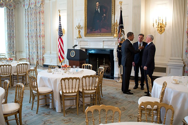 United States President Barack Obama talks with Governor Peter Shumlin of Vermont, centre, chair of the Democratic Governors Association, and Governor Mike Pence of Indiana, after a meeting with the National Governors Association in the State Dining Room of the White House on 25 February 2013. - COURTESY THE WHITE HOUSE/PETE SOUZA, VIA WIKIMEDIA COMMONS