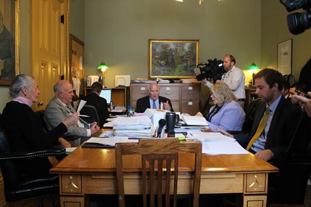 The Senate Judiciary Committee debates gun laws Friday. - PAUL HEINTZ