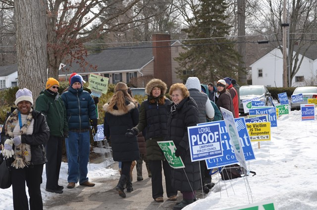 Voters brave the cold outside the Ward 4 polls. - ALICIA FREESE