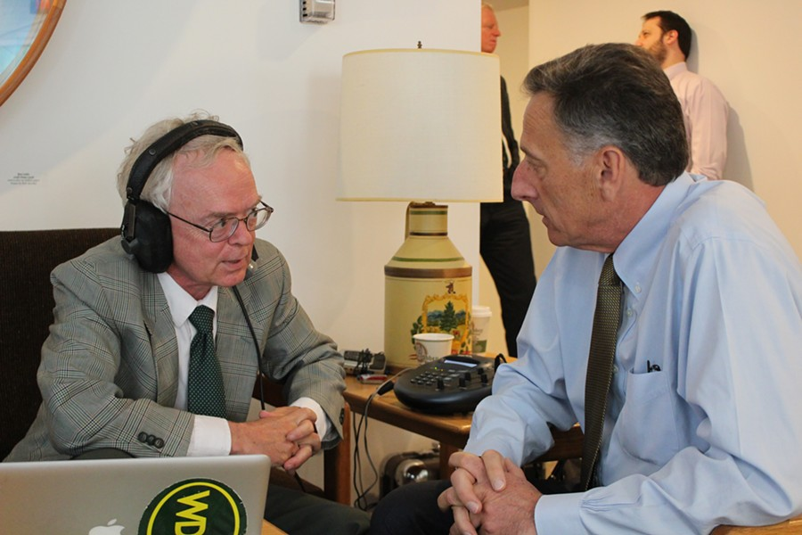 WDEV's Mark Johnson interviews Gov. Peter Shumlin at the Statehouse Friday morning. - PAUL HEINTZ