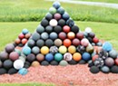 WTF: Why is there a bowling-ball pyramid on Route 58?