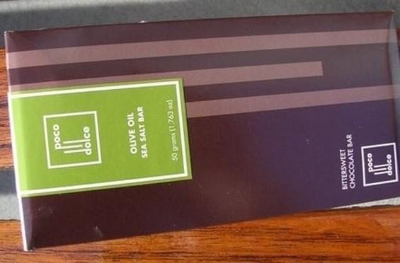 89, Poco Dolce's olive oil sea salt chocolate bar. - JOHN BIRDSALL