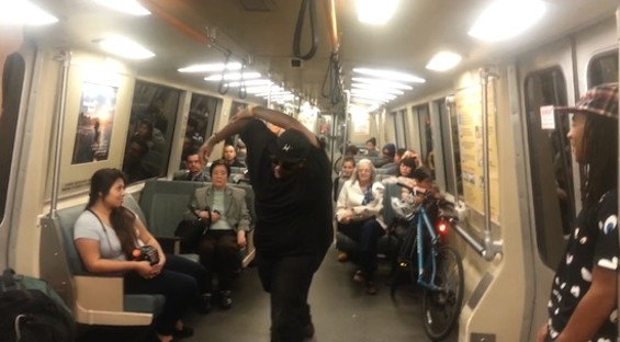 A BART dancer shows off his moves