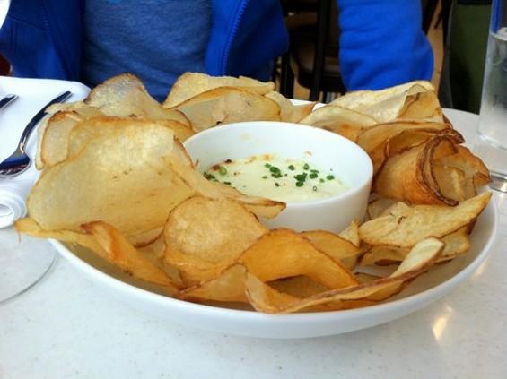 A bowl of warm potato chips at Cat Cora.