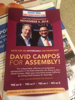 A campaign mailer funded by Big Soda, sent out by the Milk Club, backing David Campos.