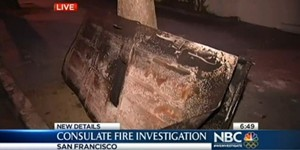 A charred door from the burned consulate - SCREEN-GRAB VIA NBC NEWS