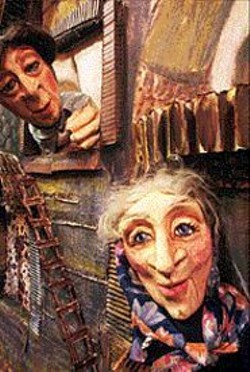 KEN  FRIEDMAN - A couple of Annie Hallatt's Chelmnik - puppets.