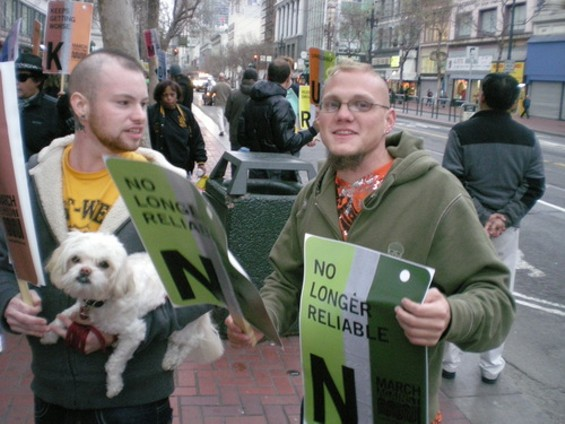 A couple of gents from the March Against Muni crowd, and their little friend