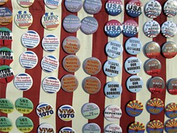 TERRY GREENE STERLING - A display of buttons for sale at the June 5 pro-SB 1070 rally.