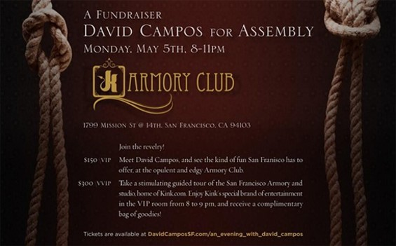 A flyer advertises Kink's fundraiser for David Campos.