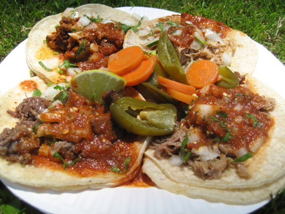 A four-taco plate, $8. Clockwise from top left: Al pastor, pollo, carnitas, cabeza. - JONATHAN KAUFFMAN