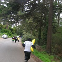 Gorilla Warfare A gorilla finds a huge banana in today's Great Gorilla Run, people -- politically aware people, delightfully silly people -- donned gorilla suits and meandered around Golden Gate Park to raise funds for the Gorilla Organization, an international charity dedicated to protecting Central Africa's remaining mountain gorillas. More info at greatgorillarun.org.