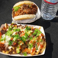 10 Great Food Truck Sandwiches Koja Kitchen Food Truck: Dont pass up on the mainstay Koja Sandwich, where toasted, absorbent rice patties make up the bread, and you choose your meat, plus some yummy toppings. Try the Kamikaze Fries with kimchi for a beefy side dish, too.