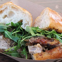 10 Great Food Truck Sandwiches Roli Roti: A balanced combination of crispy, salty pork skin with deliciously juicy meat, along with caramelized onions and a bit of cress in a crusty roll. Get in line and order your Porchetta sandwich.