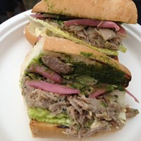 10 Great Food Truck Sandwiches Side Pony: Portable and delectable duck meat piled onto a bun along with kaffir lime aioli, cilantro and mint pesto, pickled red onions and Romaine lettuce for a sandwich-ed version of the Thai dish larb.