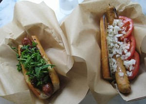 A lamb merguez sausage (left) and the 4505 dog. - MEREDITH BRODY