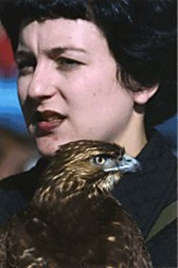 A member of the Cal Hawking Club holds a - hunting - raptor.