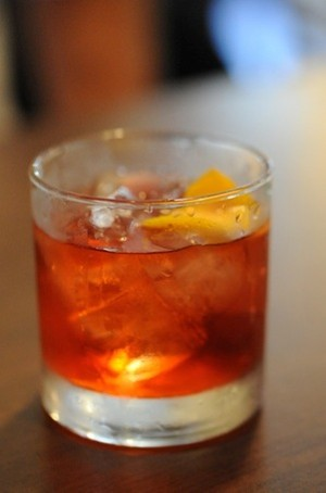 A Negroni cocktail waiting to be enjoyed - LIZA GERSHMAN