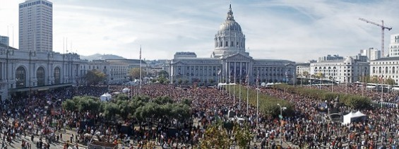 A panoramic view of Giants fans filling Civic Center. Click to enlarge. - JOE ESKENAZI