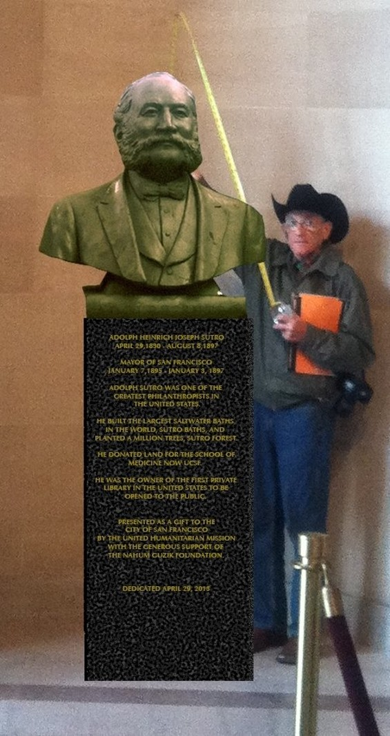 A photo illustration of Leonid Nakhodkin with the Sutro bust