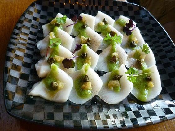 A plate of walu carpaccio suggested what Rocketfish chef Kenichi Kawashima is capable of ― in a good way. - ALEX HOCHMAN