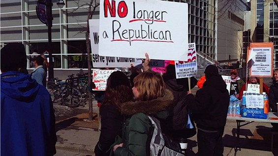 A protestor's sign at a rally in Wisconsin - COURTESY OF VARIANCE FILMS / ELSEWHERE FILMS
