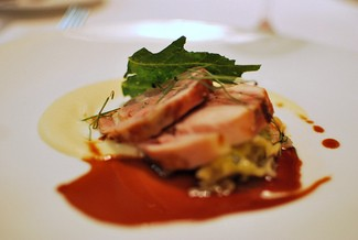 A rabbit loin stuffed with foie gras from One Market. - PATRICK H./FLICKR