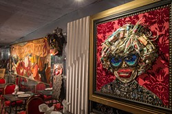 "NATHANIEL Y. DOWNES - A relief sculpture of Carol Channing created entirely of trash graces ""Chenery House,"" Bob Pritikin's eclectic San Francisco manse."