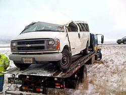 Adam Haworth Stephens' tour van after it rolled several times in Wyoming.