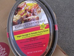 Adolphs' packaged vegan cürrywurst will soon be in all four S.F. Whole Foods stores. - JOHN BIRDSALL