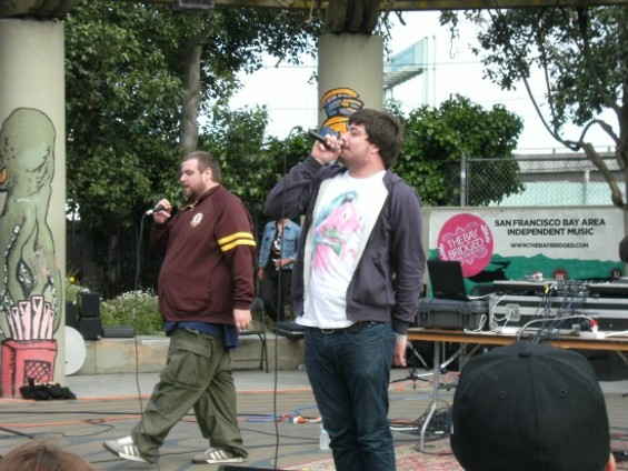 Aesop Rock (right) raps faster than you can even understand at Phono del Sol. - DEAN SCHAFFER