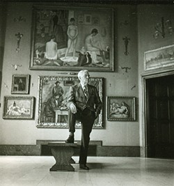 Albert Barnes inside the main gallery of his Barnes Foundation.