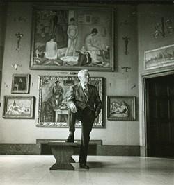 Albert Barnes inside the main gallery of his Barnes Foundation.