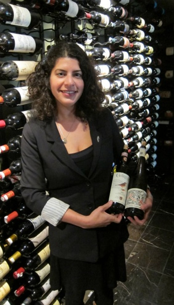 Amy Goldberger in the Fifth Floor wine room