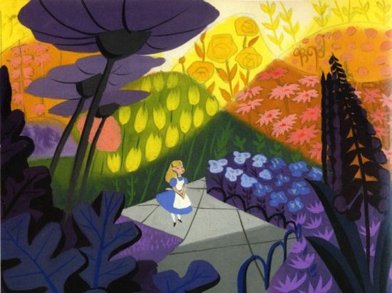 """An original Mary Blair concept painting for Disney's """"Alice in Wonderland"""""""